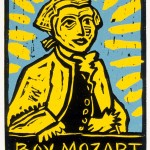 "Boy Mozart #2, 1985 linocut, 6"" x 4.5"", edn 15"