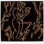 """Dark Garden State I, 1985 linocut, 6"""" x 6.4"""", edn 15"""