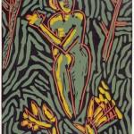 """Goddess, 1985 linocut, 9"""" x 6.5"""", edn 12"""