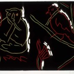 "Red Bird, 1985 linocut, 8"" x 5.8"", edn 14"