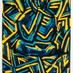 "Smoking Monkey (cubist), 1985 linocut, 9"" x 6.5"", edn 13"