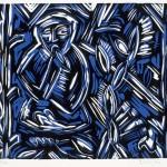 Smoking Monkey in the Garden, 1985 linocut, 6.4 x 7.3, edn 12