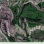 """Goddess and Pony, 1986 linocut, 8"""" x 10"""", edn 13"""