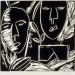 "Incantation, 1986 linocut, 7.8"" x 8.3"", edn 17"