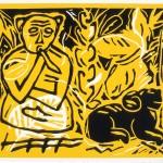"Smoking Monkey and Amulet, 1986 linocut, 8.4"" x 11"", edn 8"