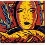 "Tropical Man, 1986 linocut, 7.8"" x 8.3"", edn 15"