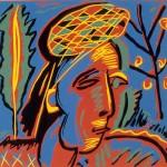 "Untitled (Italian Woman), 1986 linocut, 8.3"" x 8.5"", edn 16"