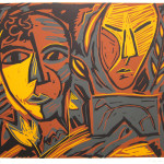 "Untitled (Two Heads) 1986 linocut 9.5"" x 11.0"" edn 10"