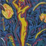 "Yellow Dancer, 1986 linocut, 10"" x 8"", edn 20"