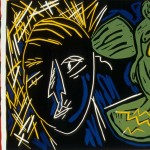 "Departing Angel, 1987 linocut, 9.3"" x 12.5"", edn 10"