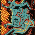 "Untitled after Derain, 1987 linocut, 14"" x 11"", edn 11"