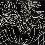 "Bowl of Flowers I, 1988 linocut, 8"" x 9.5"", edn 10"