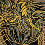 "Bowl of Flowers II, 1988 linocut, 8"" x 9.5"", edn 14"