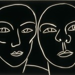 "Double Portrait (Black), 1988 linocut, 9"" x 12"", en 6"