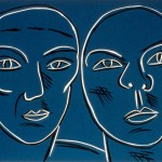 """Double Portrait (Blue), 1988 linocut, 9"""" x 12"""", edn 12"""