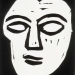 "Head (State I), 1988 linocut, 4"" x 2.8"", edn 11"