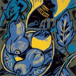 "Still Life with Fruit, 1988 linocut, 13"" x 11"", edn 10"
