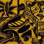 "Untitled 4/88, 1988 linocut, 10"" x 12"", edn 8"