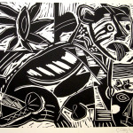 "Untitled 4/88 variation 1988 linocut 10.0"" x 12.0"" edn 5"