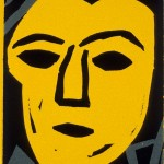 "Yellow Head, 1988 linocut, 4"" x 2.8"", edn 9"