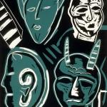 "Four Devils, 1990 linocut, 15"" x 12"", edn 12"