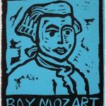 "Boy Mozart blue, 1991linocut, 3"" x 2"", edn 100"