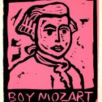 "Boy Mozart pink 1991 linocut 3.0"" x 2.5"" edn 100"