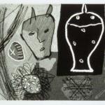 "Bun *, 1994 etching, 2.6"" x 3.9"", edn 30"