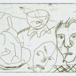 "The Ventriloquist *, 1994 etching, 2.6"" x 3.9"", edn 30"