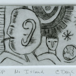 "No Island, 1992 drypoint, 2.9"" x 4.0"" edn 11"