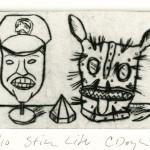 Still Life, 1992 drypoint, 2.9 x 4.0 edn 10
