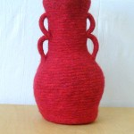 "Double Handled Pot knitted felt 16"" h"