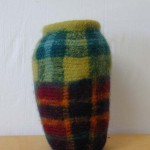 "Plaid Jar 7/4/05 knitted felt 15"" h"