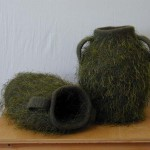 "Green Jars 10/04 knitted/ felt 14"" h private collection"
