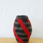 "Diagonals Pot knitted felt 11"" h private collection"