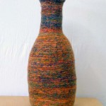 "Orange Bottle knitted felt 22.5"" h"