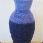 Purple Vase knitted felt 20.5' H