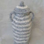 "Lidded Pot 9/04 knitted/ felt 16"" h"