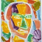 "Head on Blue IV, 1993 monotype, 5.3"" x 11.9"""