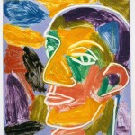 "Head on Blue V, 1993 monotype, 5.3"" x 4.8"""