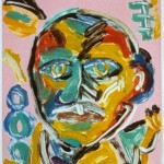 "Head on Pink I, 1993 monotype, 5.3"" x 4.9"" private collection"