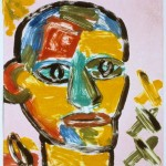 "Head on Pink II, 1993 monotype, 5.3"" x 4.9"""