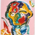 "Head on Pink III, 1993 monotype, 5.3"" x 4.9"""