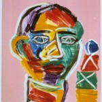 "Head on Pink IV, 1993 monotype, 5.3"" x 4.9"""