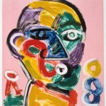 "Head on Pink V, 1993 monotype, 5.3"" x 4.9"""