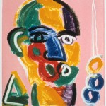 "Head on Pink VI, 1993 monotype, 5.3"" x 4.9"""