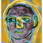 "Saint, 1993 monotype, 4.8"" x 4.3"""