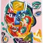 "Devil V, 1993 monotype, 5.3"" x 4.9"" private collection"