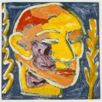 "Head on Blue II, 1993 monotype, 4.4"" x 4.4"""