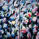 """Hydrangea Prelude 1982, oil on canvas 66"""" x 102"""" private collection"""